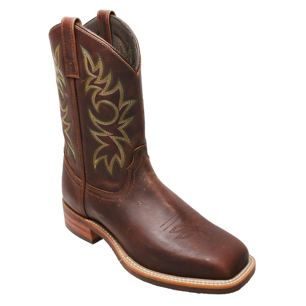 Brown 11 in. Square Toe Cowboy Boots