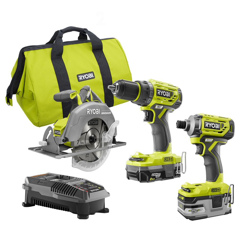 Ryobi 18-Volt ONE+ Li-Ion Cordless Brushless 3-Tool Combo Kit with Drill/Driver, Impact Driver, Circ Saw, Batteries, Charger