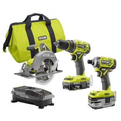 18-Volt ONE+ Li-Ion Cordless Brushless 3-Tool Combo Kit with Drill/Driver, Impact Driver, Circ Saw, Batteries, Charger