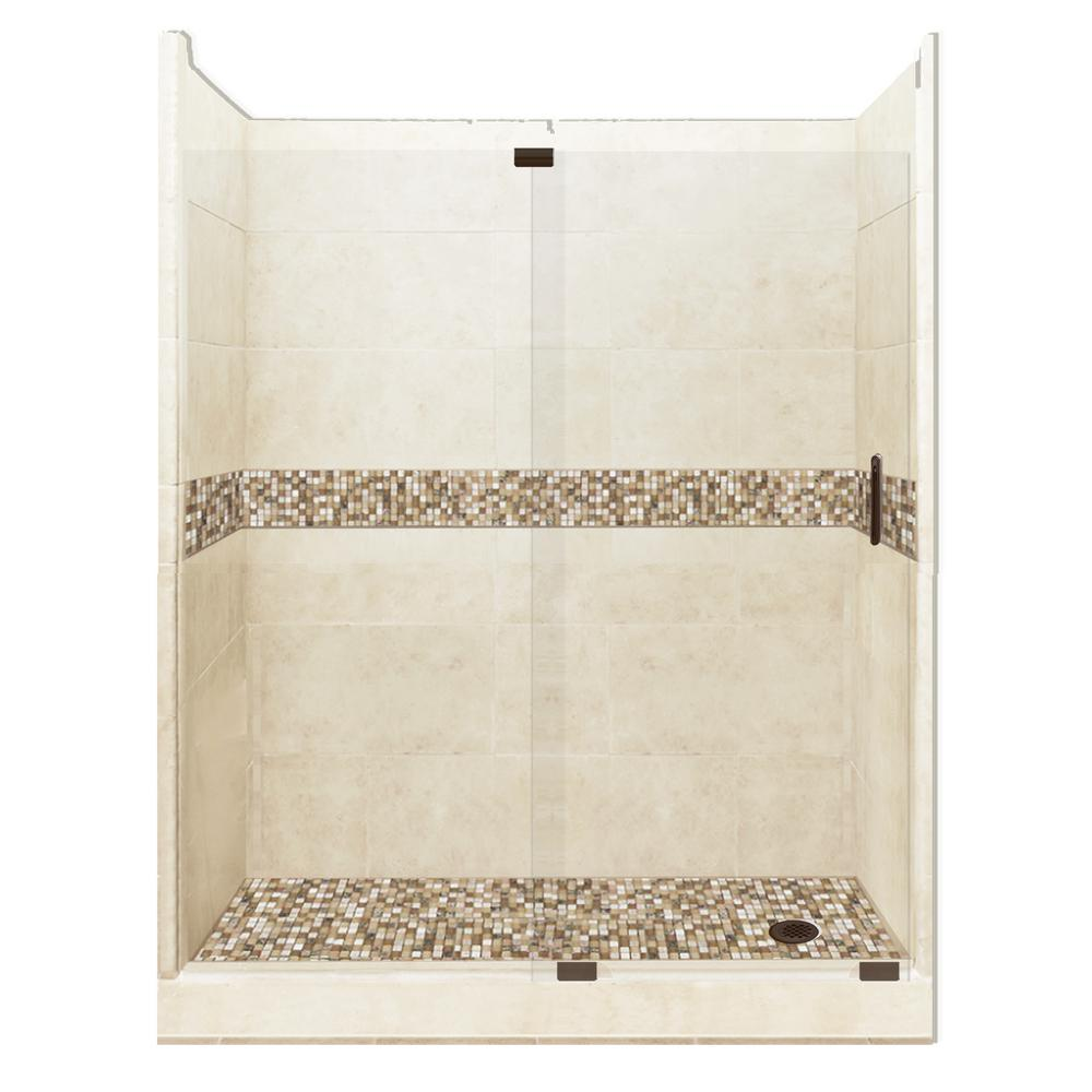 American Bath Factory Roma Grand Slider 32 in. x 60 in. x 80 in. Right Drain Alcove Shower Kit in Desert Sand and Old Bronze Hardware