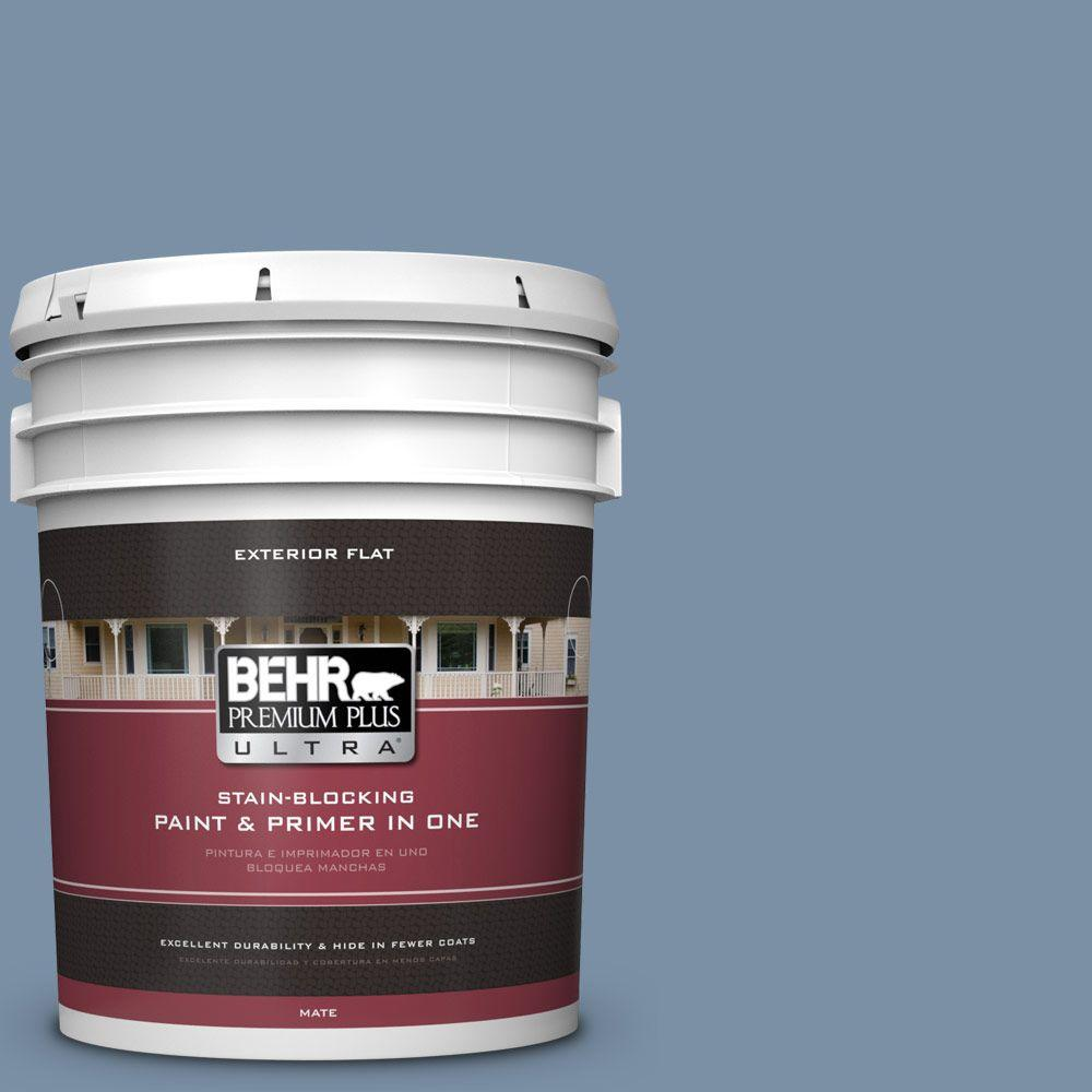 BEHR Premium Plus Ultra 5-gal. #S510-4 Jean Jacket Blue Flat Exterior Paint