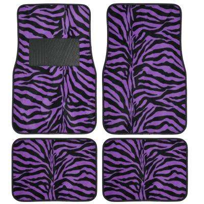 Zebra Print MT-902 Purple Animal Print 4-Piece Carpet Car Floor Mats