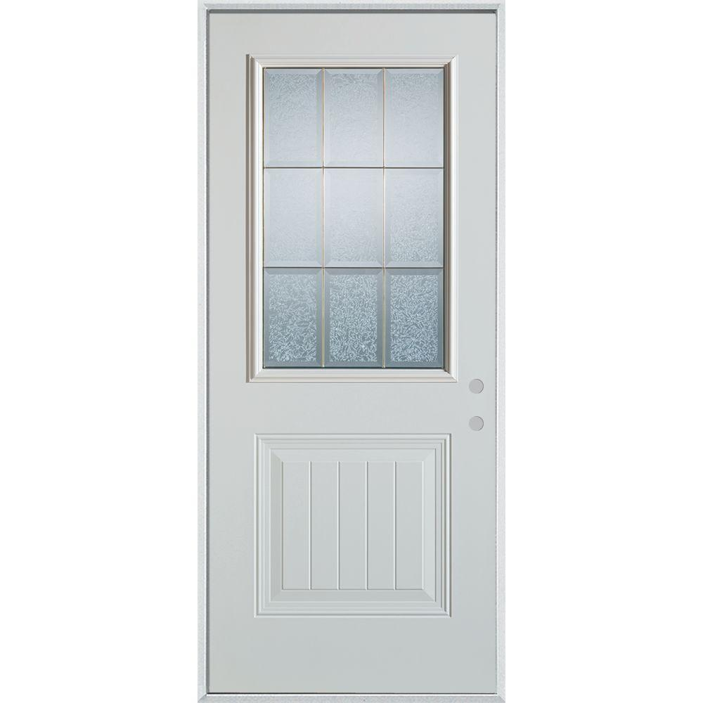 Stanley Doors 32 in. x 80 in. Geometric Clear and Brass 1/2 Lite 1-Panel Painted White Left-Hand Inswing Steel Prehung Front Door