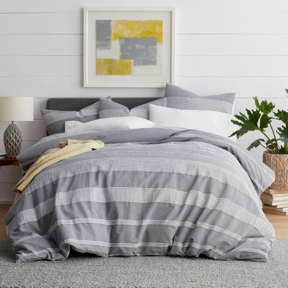 Chambray Stripe Gray/White Cotton King Duvet Cover