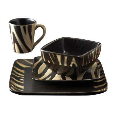 Safari Zebra Black/White 16-Piece Dinnerware Set