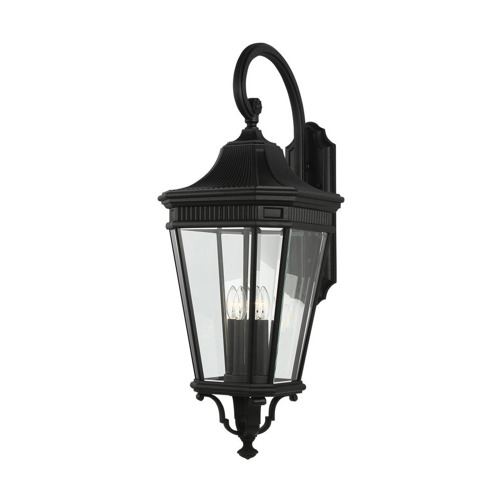 Feiss Cotswold Lane 4-Light Black Outdoor 36.25 in. Wall Lantern Sconce