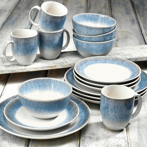 Over And Back Alabaster 16 Piece Blue Dinnerware Set 914920 The