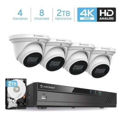 4K 8-Channel 2TB HDD DVR Security Camera System with 4x 4K 8 MP Dome Indoor Outdoor Wired Cameras, Weatherproof IP67