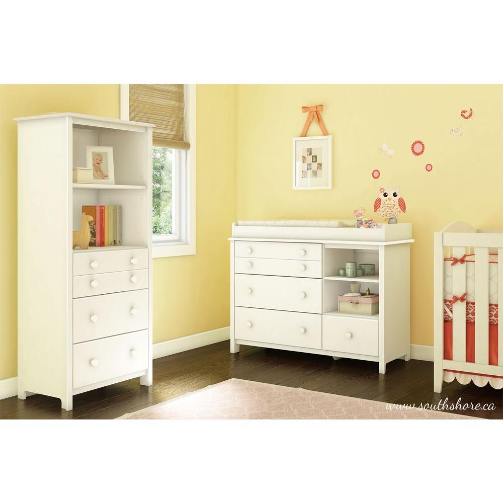 South Shore Furniture Little Smileys 4-Drawer Chest Nursery Dresser Pure White