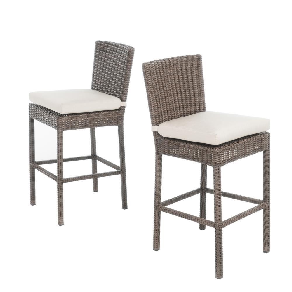 Noble House Rachel Wicker Counter Height Outdoor Bar Stool 2 Pack