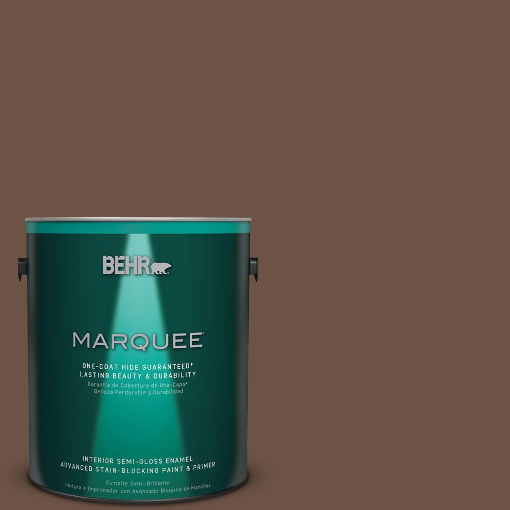 1 gal. #N190-7 Moose Trail One-Coat Hide Semi-Gloss Enamel Interior Paint