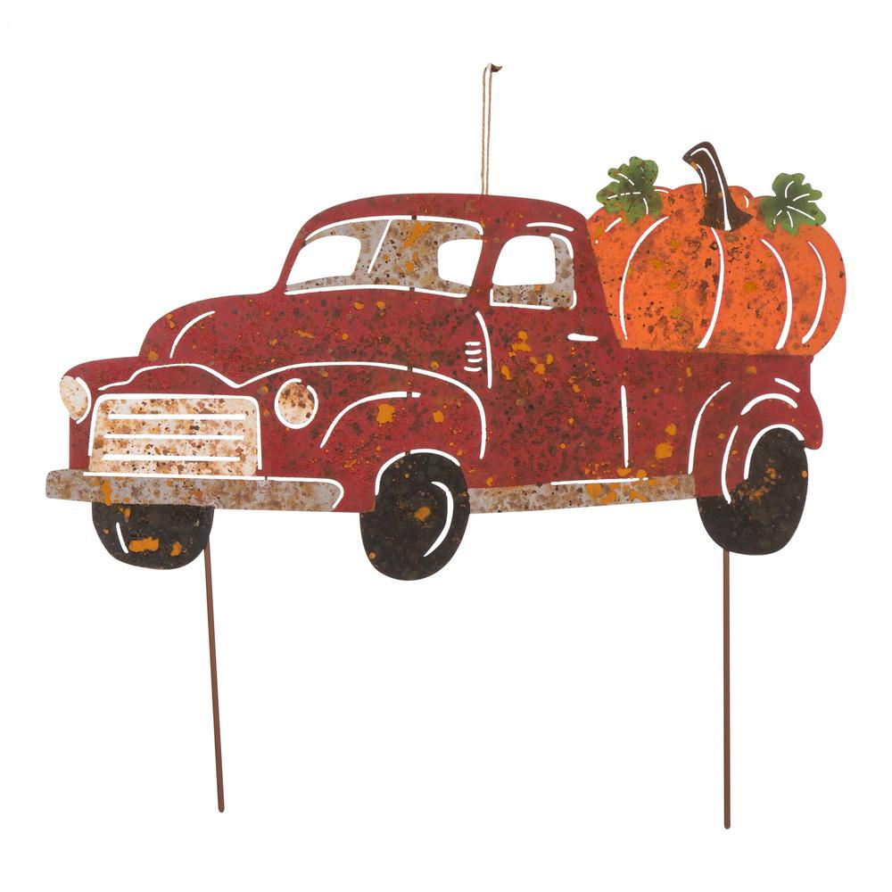 Glitzhome 25 in. L Metal Rusty Truck Yard Stake or Standing Decor or Hanging Decor (KD, 3 Function)