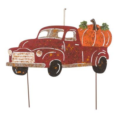 25 in. L Metal Rusty Truck Yard Stake or Standing Decor or Hanging Decor (KD, 3 Function)