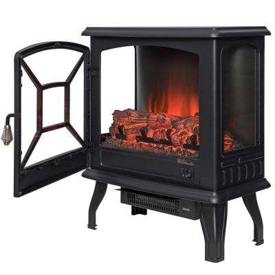 20 in. Freestanding Electric Fireplace Stove Heater in Black with Vintage Glass Door Realistic Flame and Logs