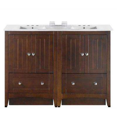 16-Gauge-Sinks 48 in. W x 18.25 in. D Vanity in Walnut with Ceramic Vanity Top in White with White Basin