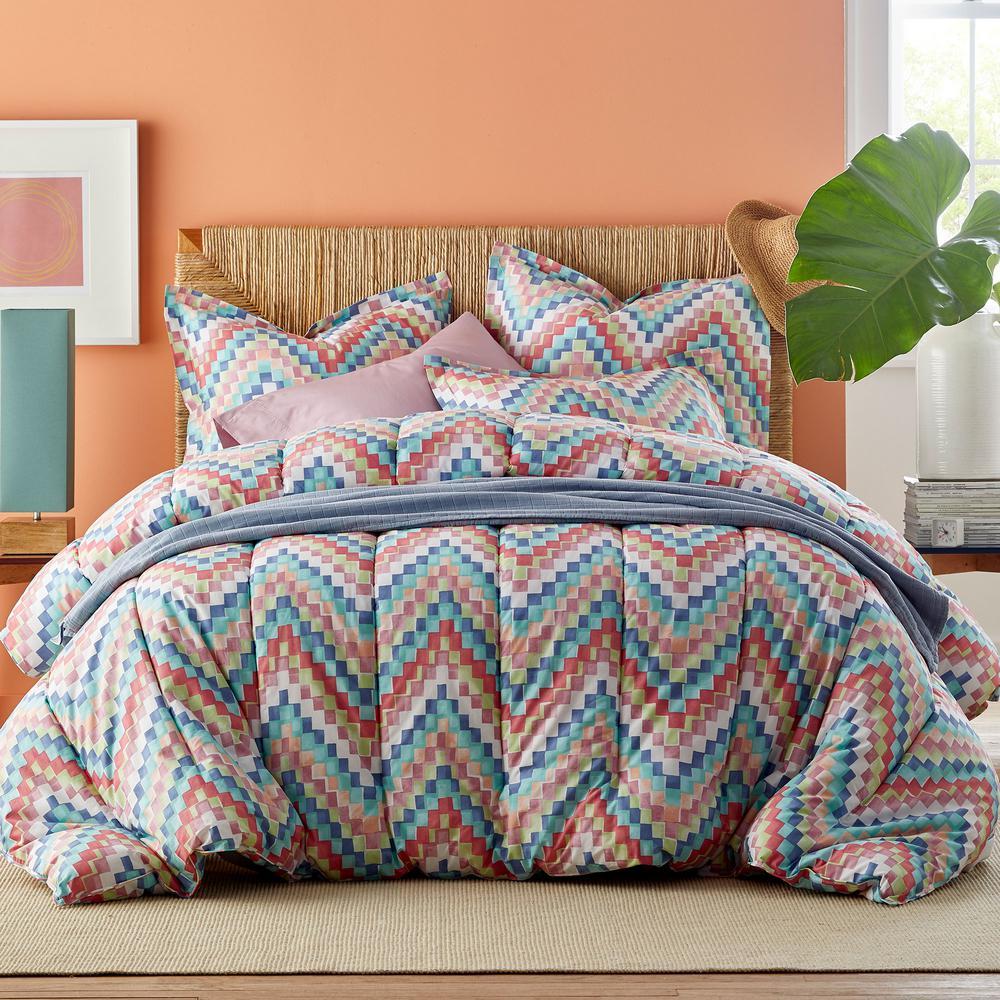 The Company Store Blockwave Multi Cotton Percale King Comforter 50352E-K-MULTI