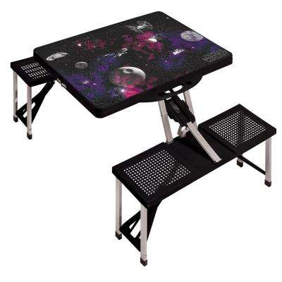 Death Star Black Picnic Table Sport Portable Folding Table with Seats