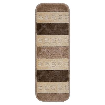 Softy Collection Brown Striped Design 9 in. x 26 in. Rubber Back Stair Tread Cover (Set of 7)