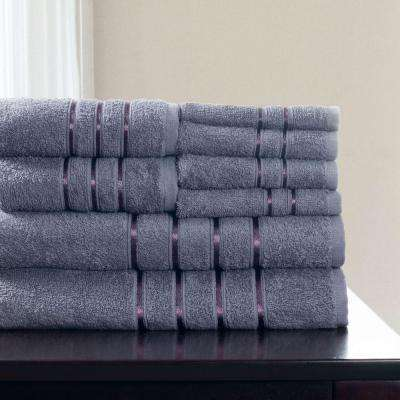 100% Cotton Bath Towel Set in Silver (8-Piece)