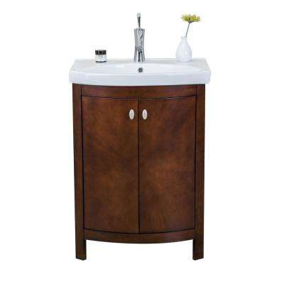 Jersey 24.50 in. W x 19 in. D x 3.50 in. H Vanity in Walnut with Porcelain Top in White with White Basin