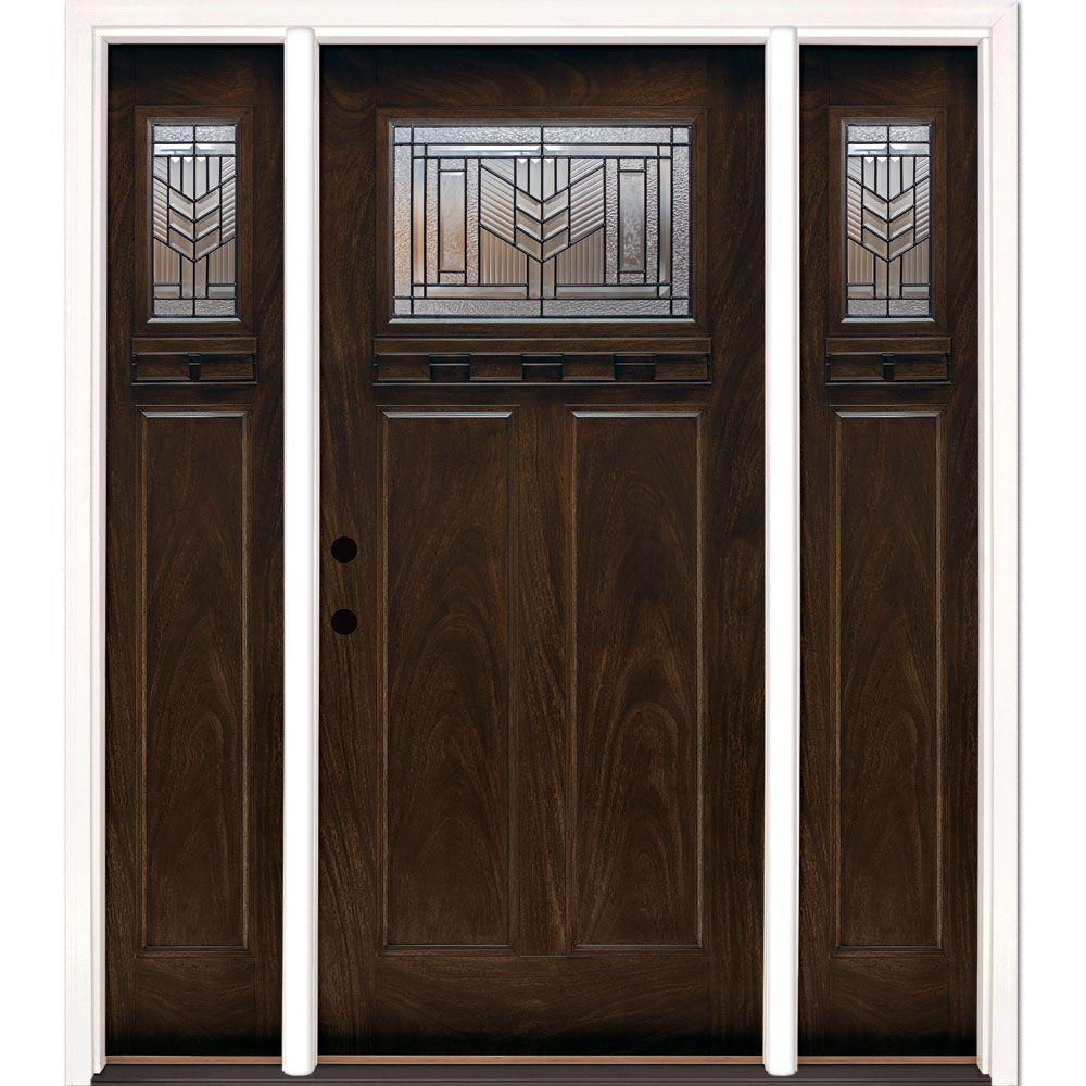 63.5 in.x81.625in.Phoenix Patina Craftsman Stained Chestnut Mahogany Right-Hd