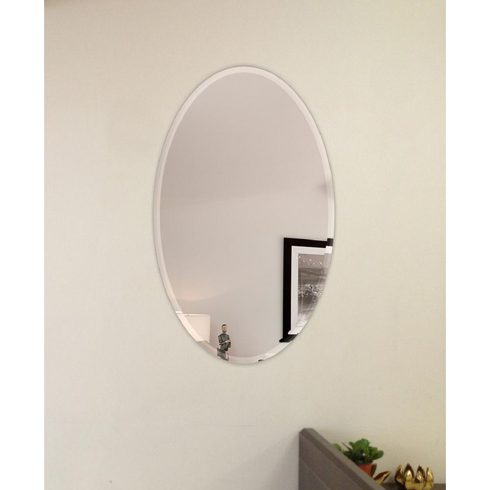 Fab Gl And Mirror 22 In X 39 Oval Beveled Polish Frameless Wall
