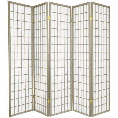 6 ft. Grey Window Pane 5-Panel Room Divider