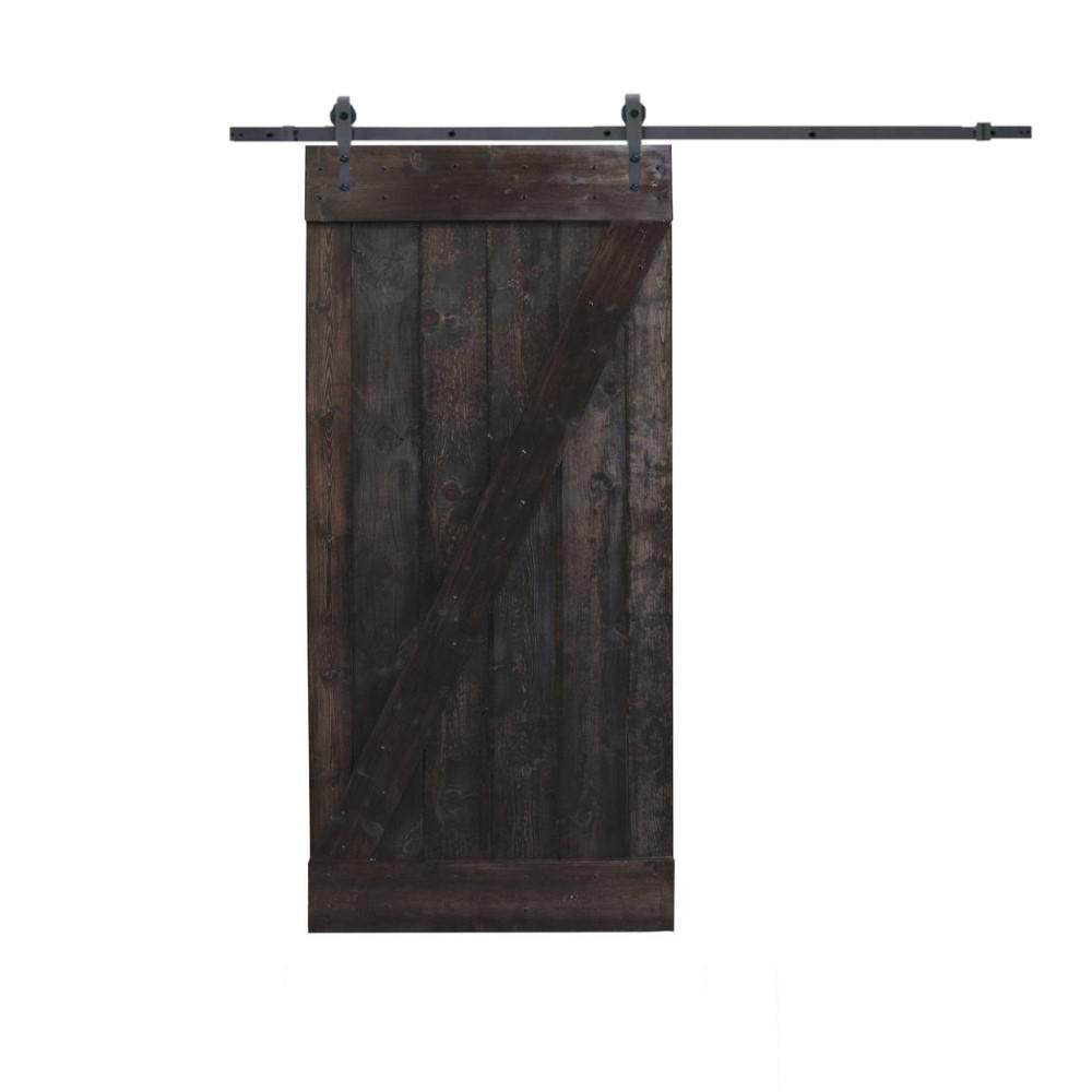 CALHOME 24 in. x 84 in. Primed Natural Wood Finish Dark Coffee Sliding Barn Door with Sliding Door Hardware Kit was $389.0 now $259.0 (33.0% off)