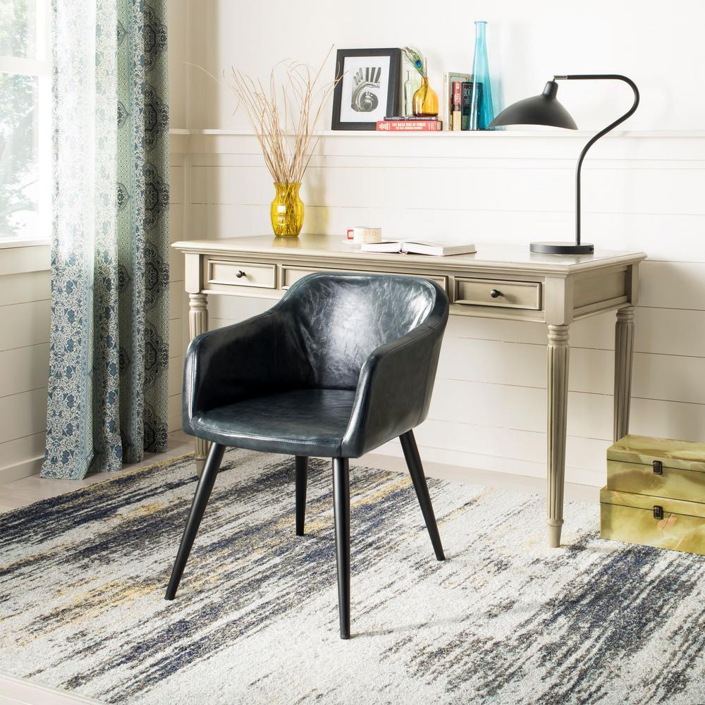 Adalena Dark Grey Leather Accent Chair