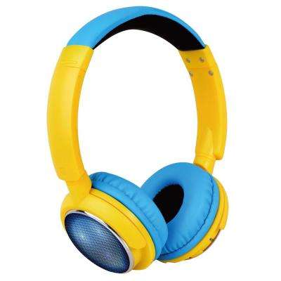 Kid's Volume-Safe Over-The-Ear Bluetooth Wireless LED Headphones in Blue/Yellow