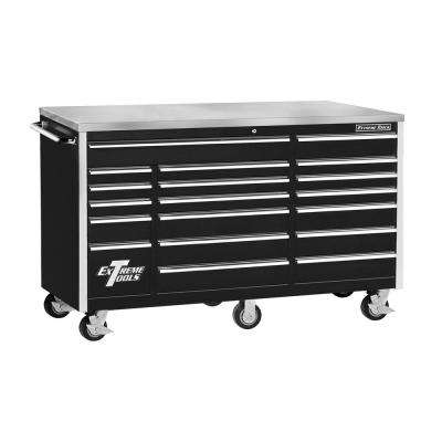 72 in. 18-Drawer Triple Bank Standard Roller Cabinet with Stainless Steel Work Surface, Black