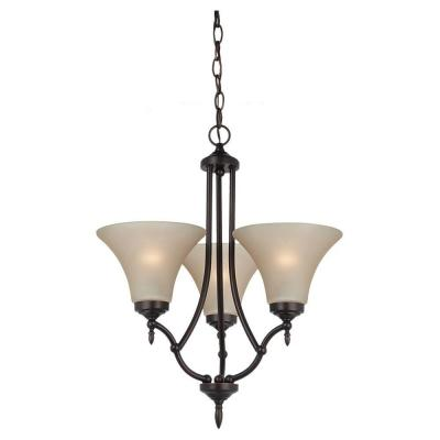 Montreal 3-Light Burnt Sienna Single-Tier Chandelier