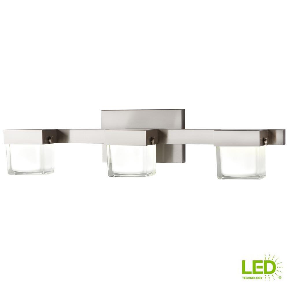 Home Decorators Collection 40 Watt Equivalent 3 Light Brushed Nickel Integrated Led Vanity With White Gl