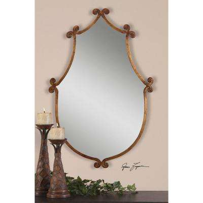 37 in. x 24 in. Gold Metal Framed Mirror