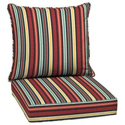 24 x 24 Ruby Abella Stripe 2-Piece Deep Seating Outdoor Lounge Chair Cushion