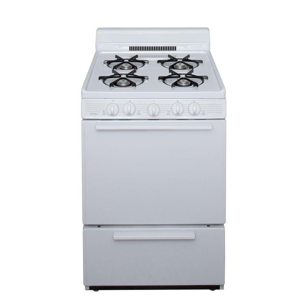stove 24 inch. premier 24 in. 2.97 cu ft. battery spark ignition gas range in white stove inch