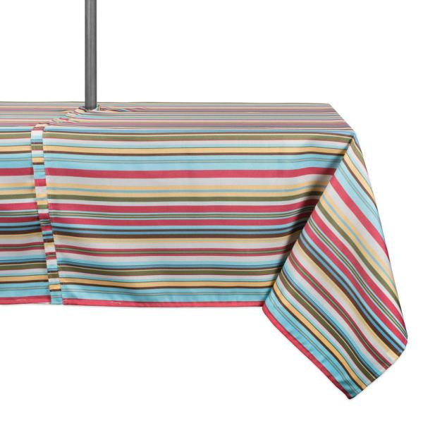 Outdoor 60 in. x 120 in. Summer Stripe Polyester with Zipper Tablecloth