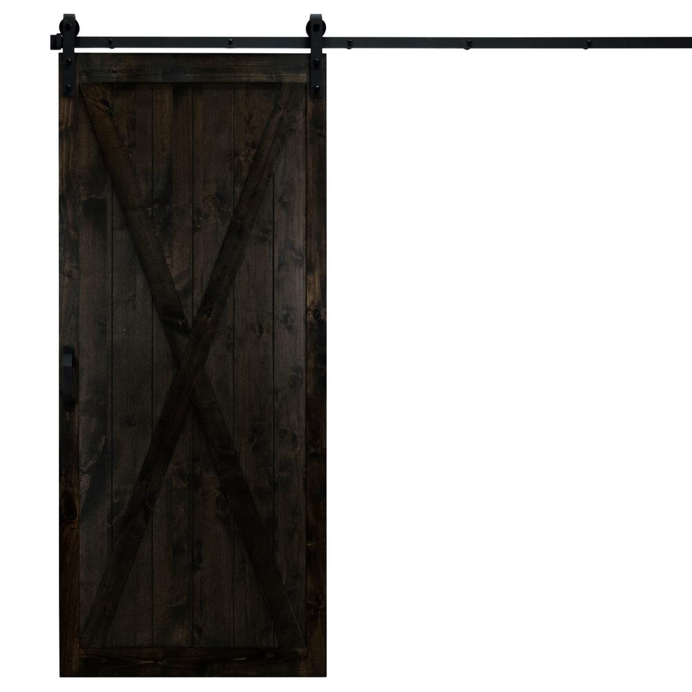 Dogberry Collections 36 in. x 84 in. Classic X Midnight Black Alder Wood Interior Sliding Barn Door Slab with Hardware Kit