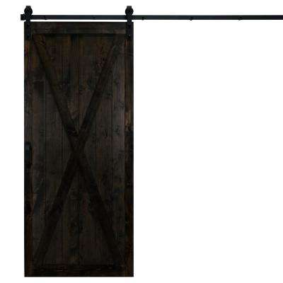 36 in. x 84 in. Classic X Midnight Black Alder Wood Interior Barn Door Slab with Sliding Door Hardware Kit