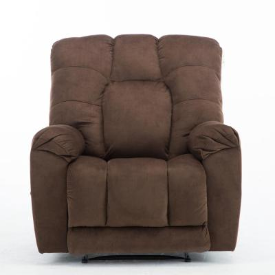 Brown Fabric Recliner Chair Manual Recliner Comfortable Thicker Overstuffed Sofa
