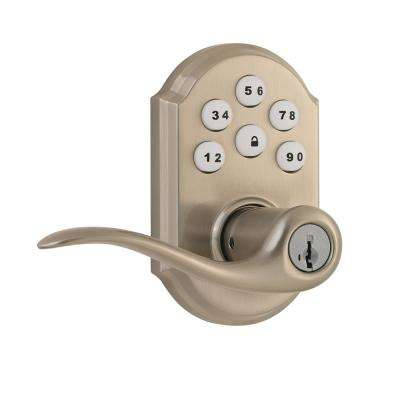 Z-Wave SmartCode Lifetime Satin Nickel Electronic Tustin Door Lever Featuring SmartKey Security