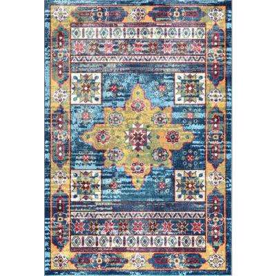 Vintage Ashley Aztec Blue 2 ft. 8 in. x 8 ft. Runner Rug