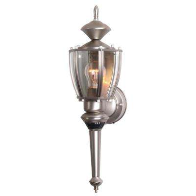 19 in. Pewter Motion Activated Outdoor Beveled Glass Coach Lantern