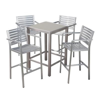 Cape Coral Silver 5-Piece Metal Outdoor Bar Height Bistro Set