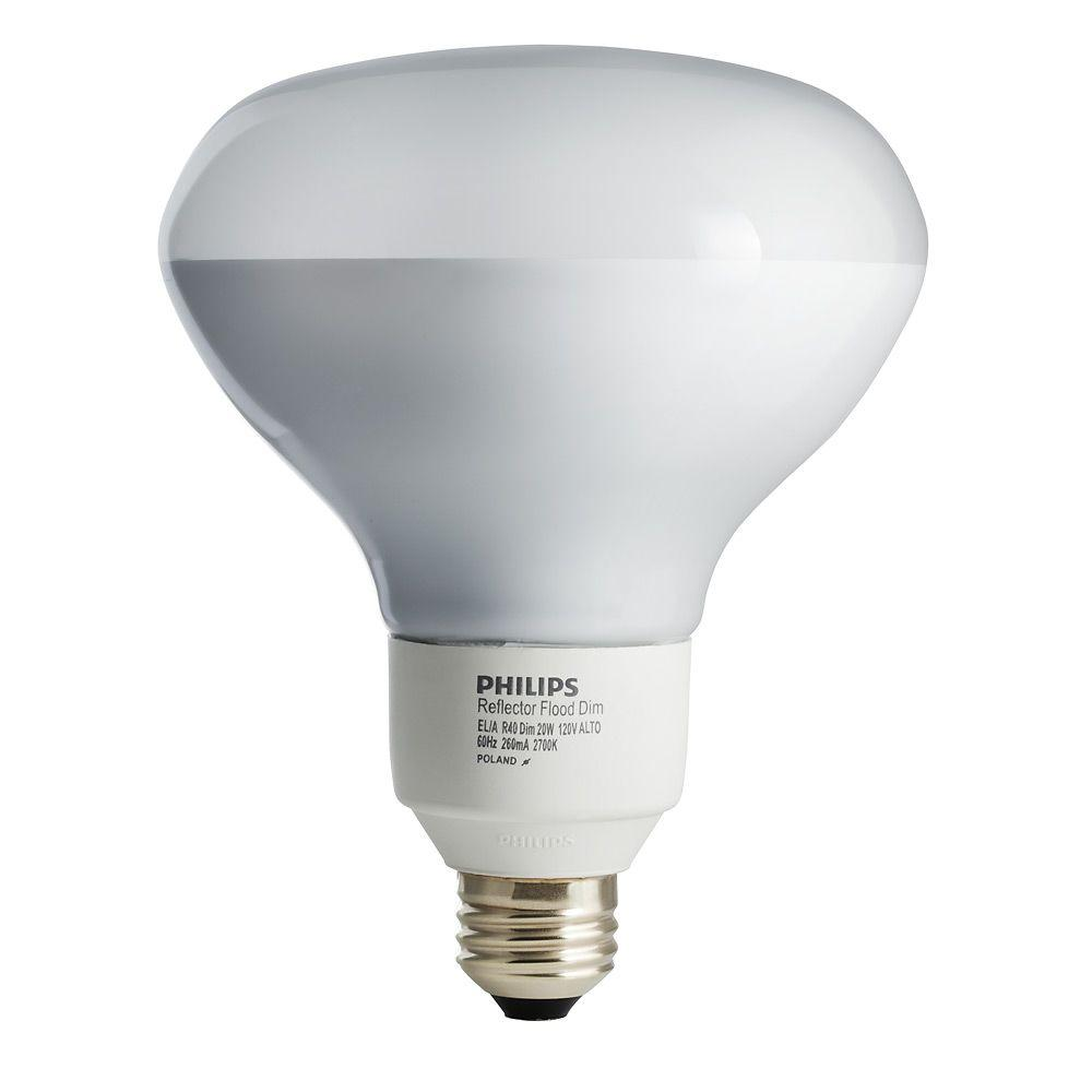 Philips 85W Equivalent Soft White (2700K) R40 Dimmable CFL Flood Light Bulb (E*)