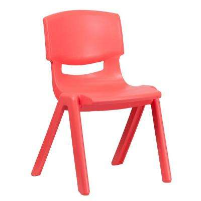 Red Plastic Stackable School Chair with 15.5 in. Seat Height