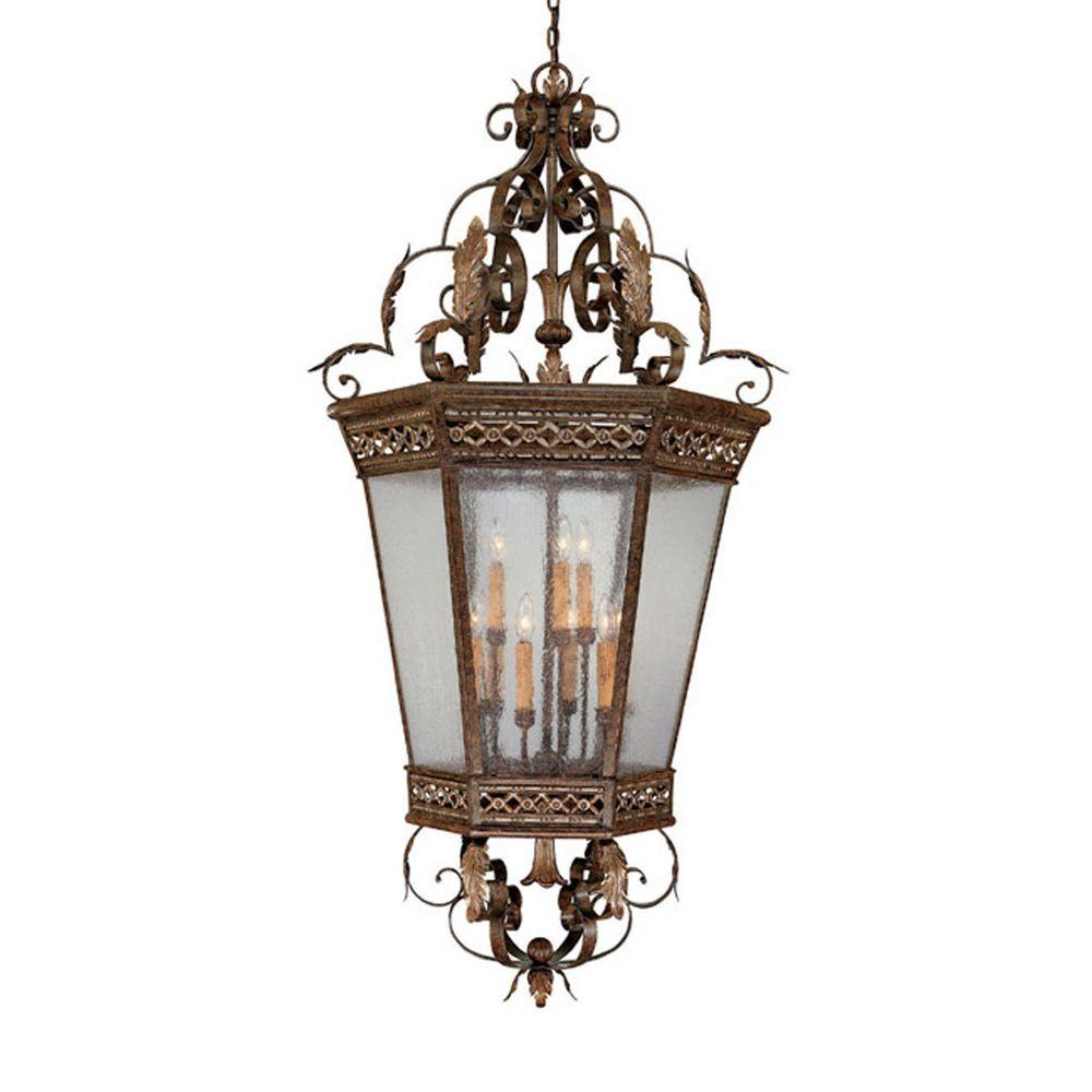 Filament Design Johnson Collection 9-Light Dark Spice Seeded Glass Foyer Pendant-DISCONTINUED