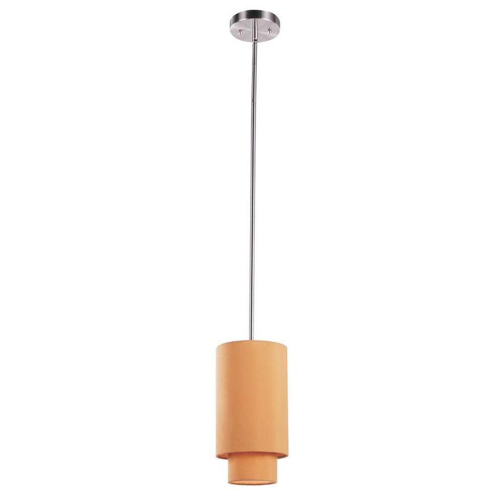 Bel Air Lighting Cabernet Collection 1-Light Brushed Nickel Pendant with Mustard Shade
