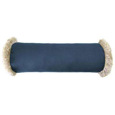 Sunbrella 7 in. x 20 in. Canvas Sapphire Blue Bolster Outdoor Pillow with Canvas Fringe