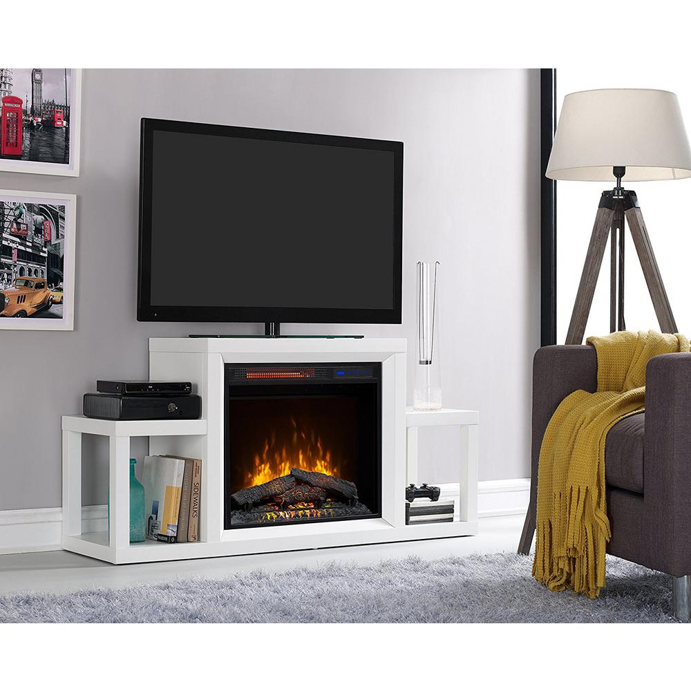 Satis 53 In Freestanding Media Console Electric Fireplace In White